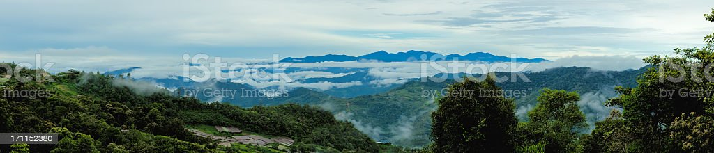 Cloudy morning panorama from Mount Kinabalu, Borneo stock photo