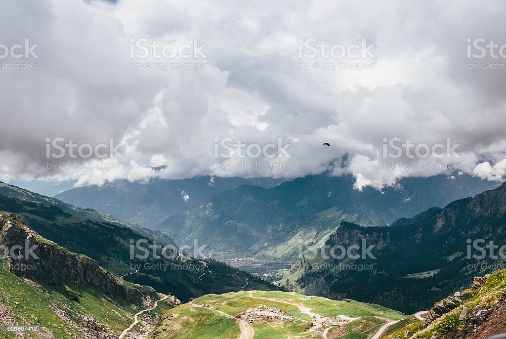 Cloudy mountain tops in indian Himalaya stock photo