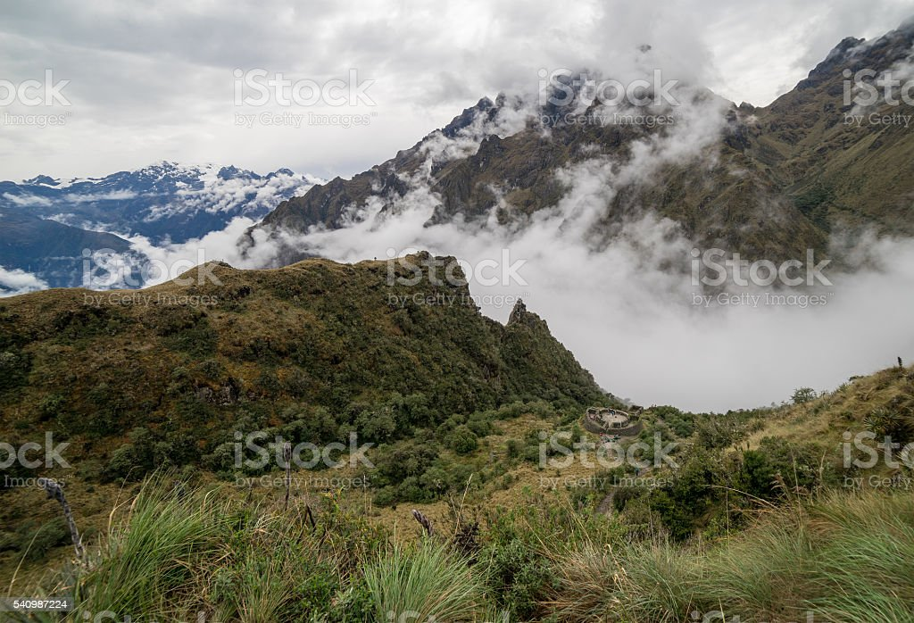 Cloudy Mountains on the way to Maccu Picchu stock photo