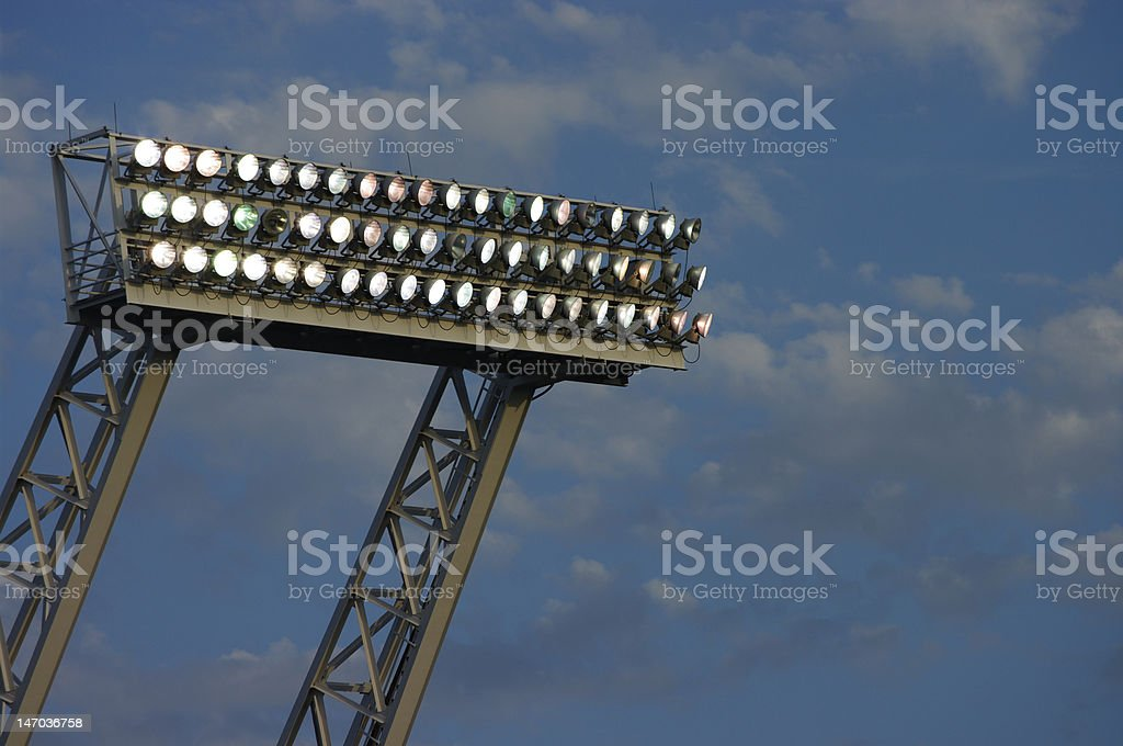 Cloudy night with lights on royalty-free stock photo
