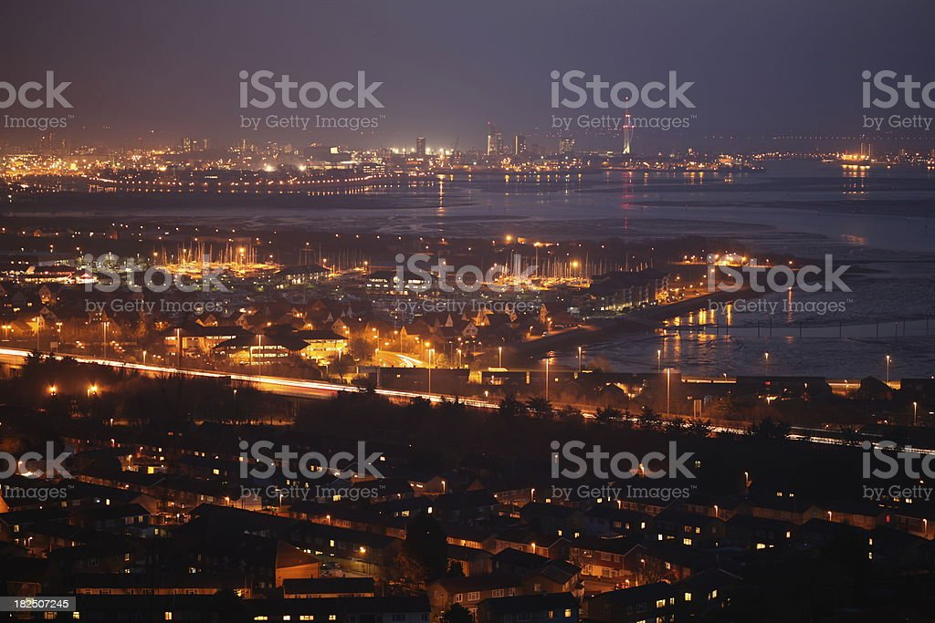 Cloudy Portsmouth at night stock photo