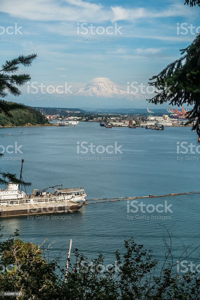 Cloudy Rainier And Port 2 stock photo