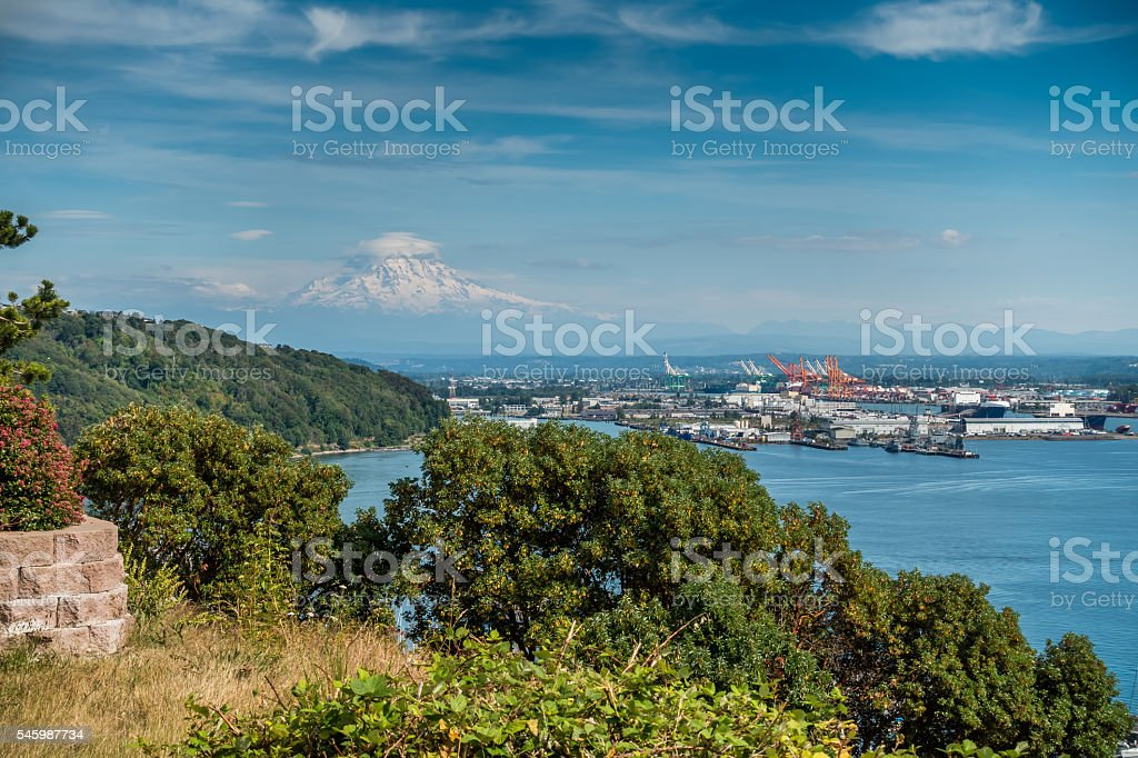 Cloudy Rainier And Port 4 stock photo
