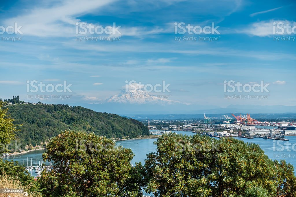 Cloudy Rainier And Port 5 stock photo