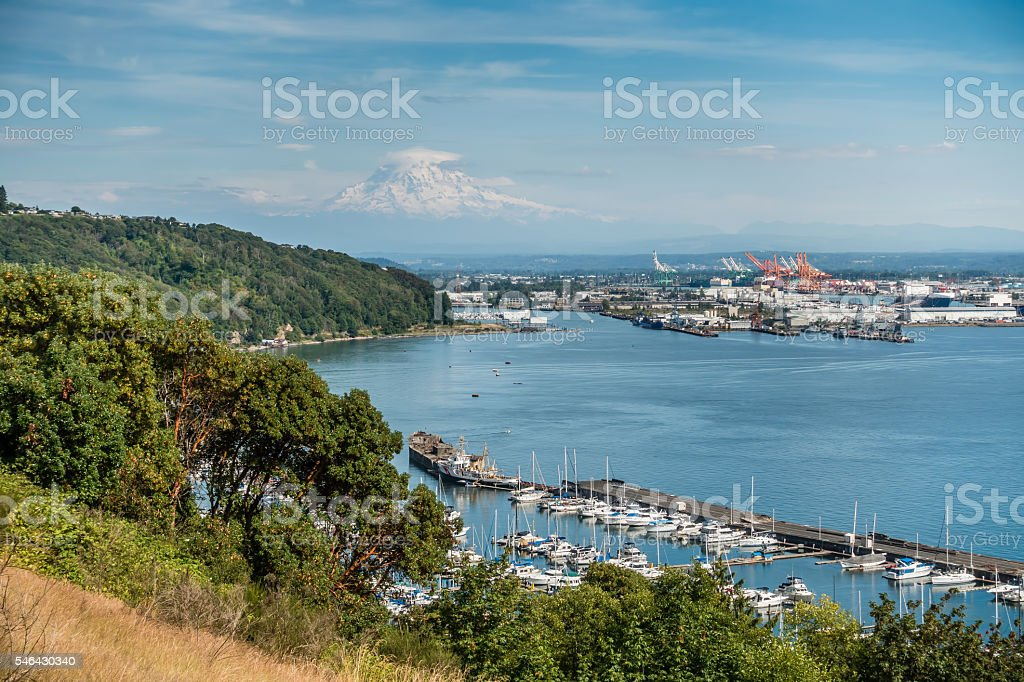 Cloudy Rainier And Port stock photo