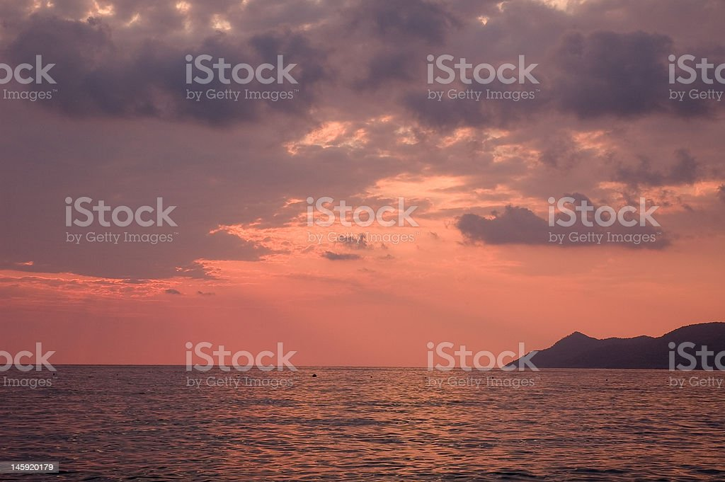 Cloudy red sunset royalty-free stock photo