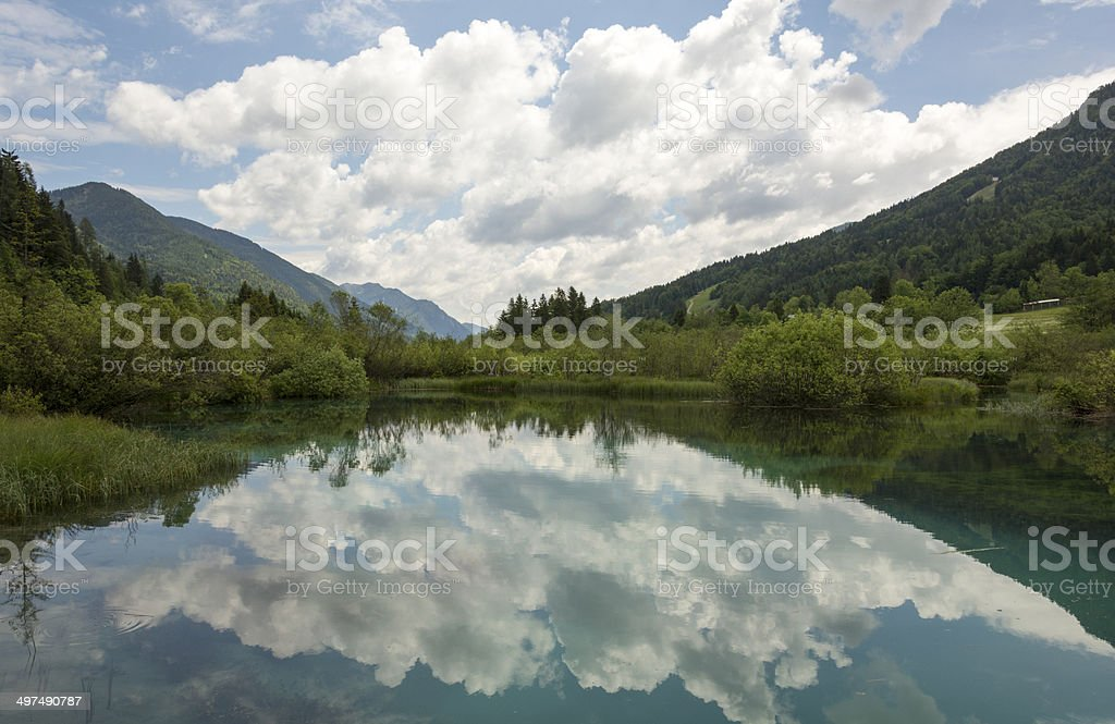Cloudy reflection stock photo