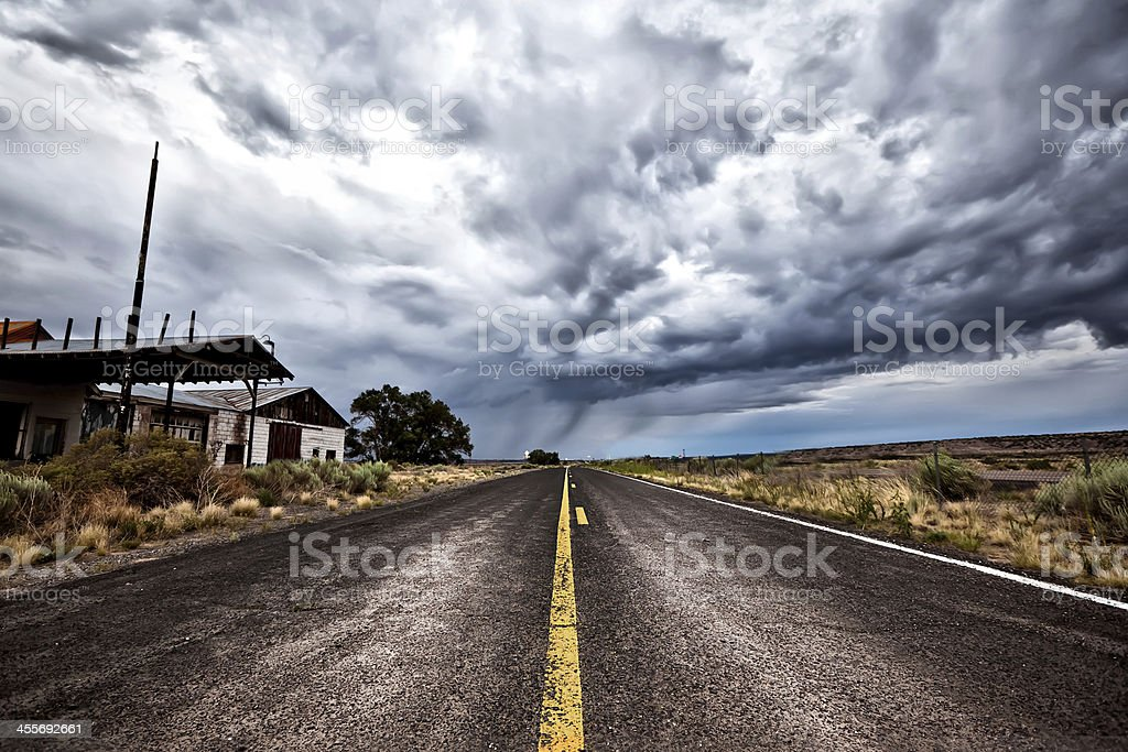 Cloudy Road Ahead stock photo