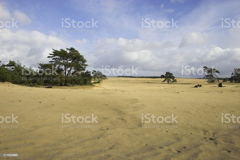 Cloudy sky and desert sand royalty-free stock photo