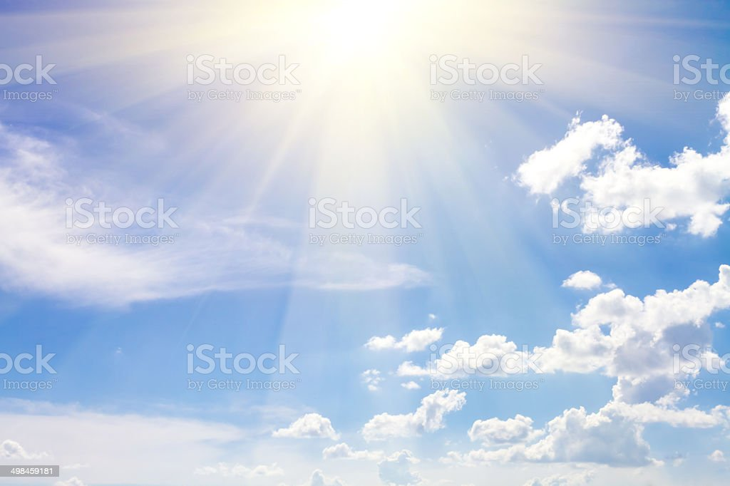 cloudy sky blue with sun stock photo