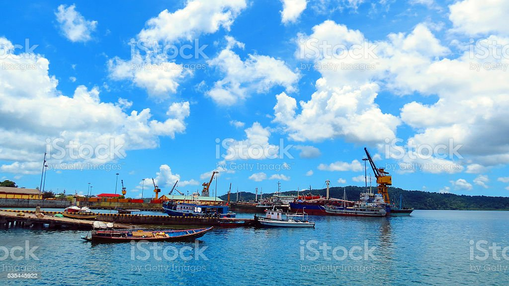 Cloudy sky over Chatham Island stock photo