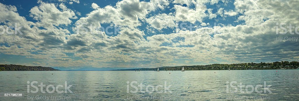 Cloudy sky over lake panorama royalty-free stock photo
