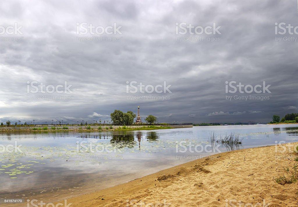 Cloudy sky over the river Kotorosl. Yaroslavl. Russia. stock photo