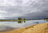 Cloudy sky over the river Kotorosl. Yaroslavl. Russia.