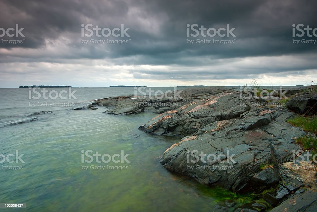 Cloudy summer seascape royalty-free stock photo