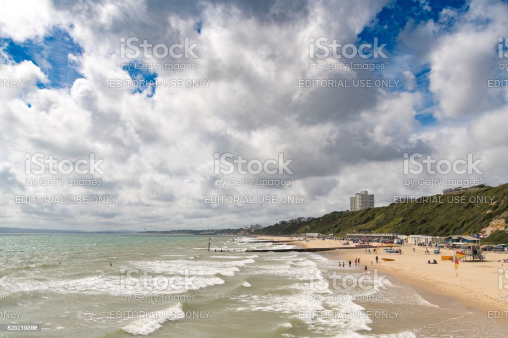 Cloudy Summers day on Bournemouth beach stock photo