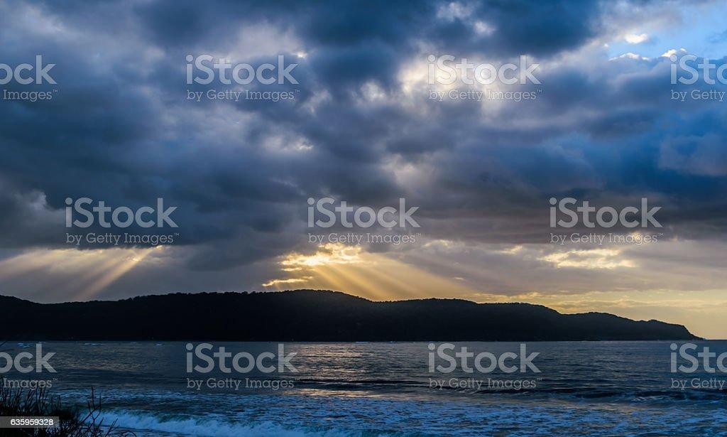 Cloudy sunrise at Ocean Beach stock photo