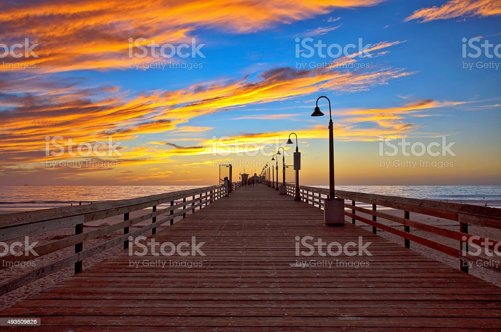 Cloudy Sunset at the Imperial Beach Pier, San Diego, CA stock photo