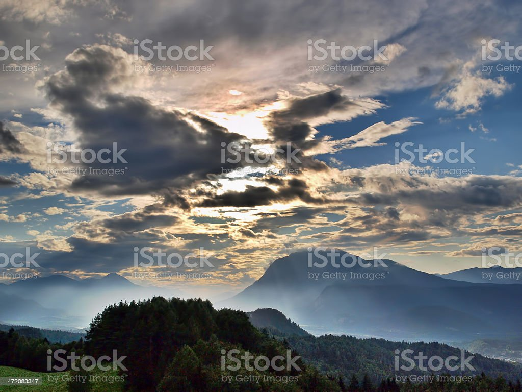Cloudy sunset in Carinthia royalty-free stock photo