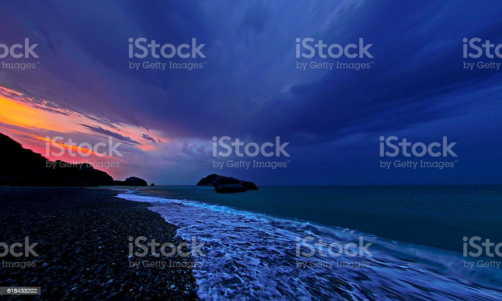 Cloudy sunset in Euboea, Greece stock photo