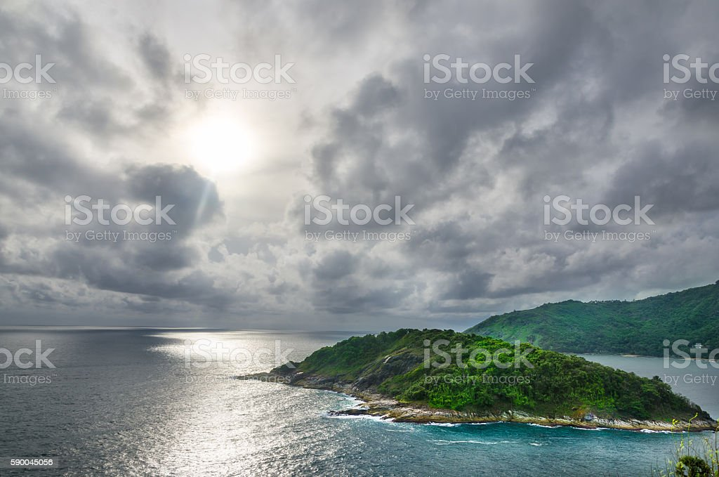 Cloudy Sunset in Sea stock photo