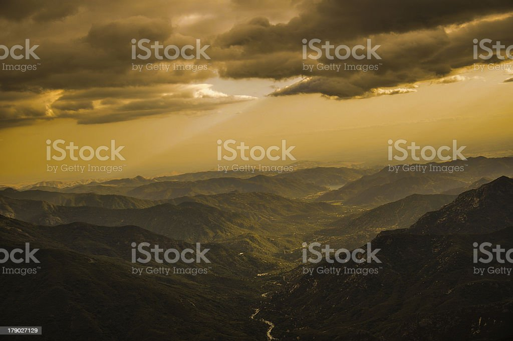 Cloudy Sunset over Sequoia National Park royalty-free stock photo