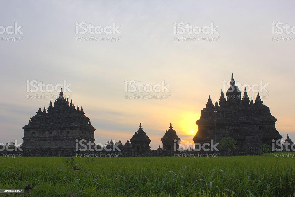 cloudy sunset plaosan temple royalty-free stock photo