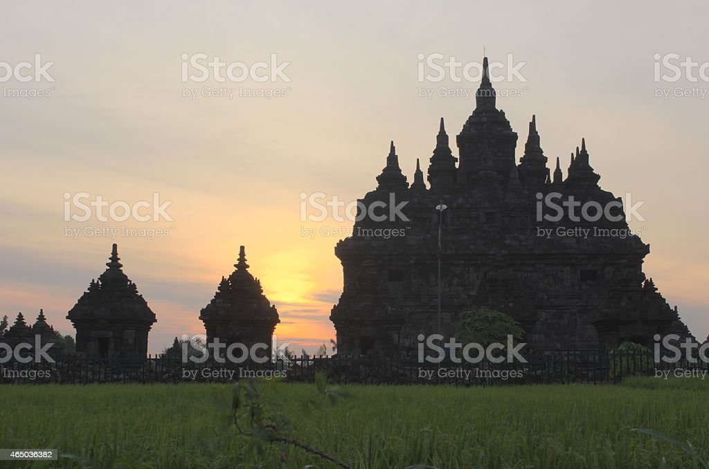 cloudy sunset plaosan temple royalty-free stock photo