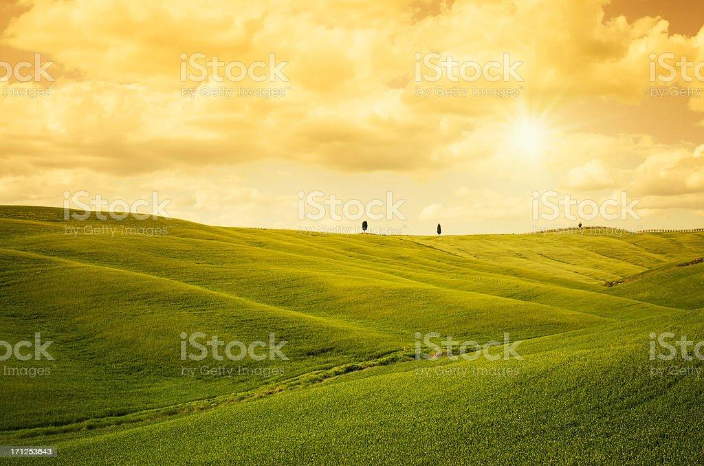 Cloudy tuscany landmark in spring stock photo