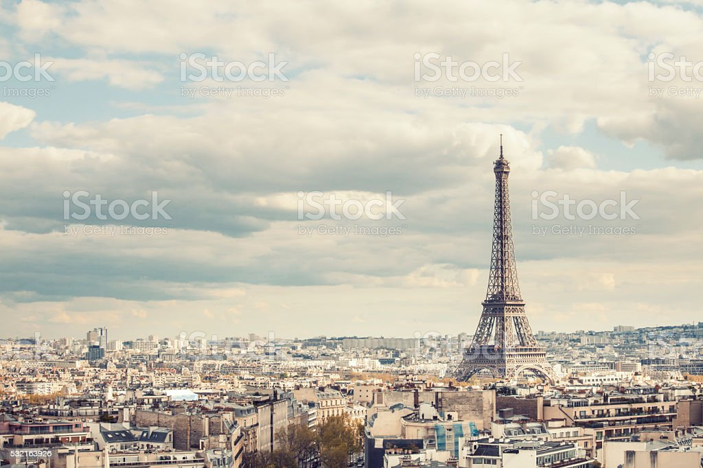 Cloudy view of Eiffel tower, Paris, France stock photo