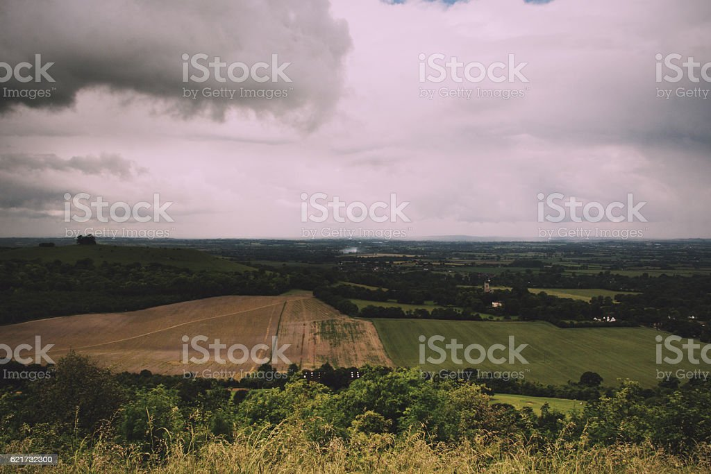 Cloudy view over the Chilterns in Buckinghamshire Vintage Retro stock photo