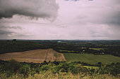 Cloudy view over the Chilterns in Buckinghamshire Vintage Retro