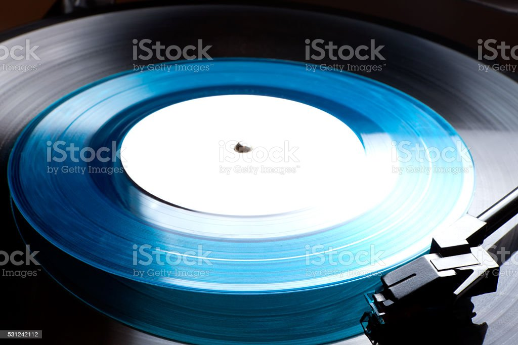 Clouse up old Vinyl record player with disk stock photo