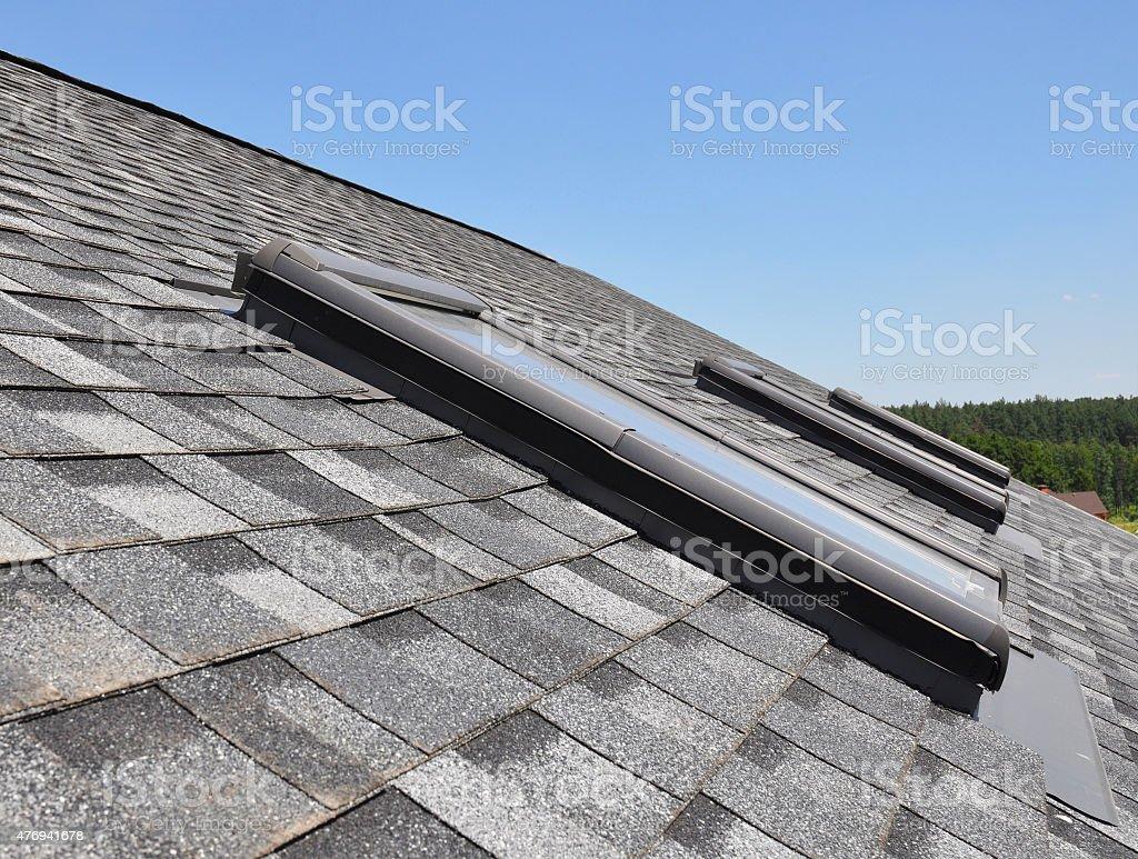 Clouseup of roof windows and skylights stock photo