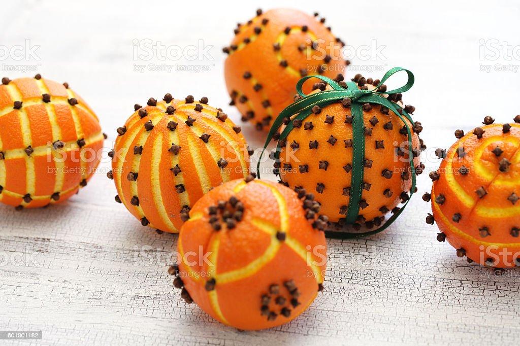 clove orange pomander balls stock photo