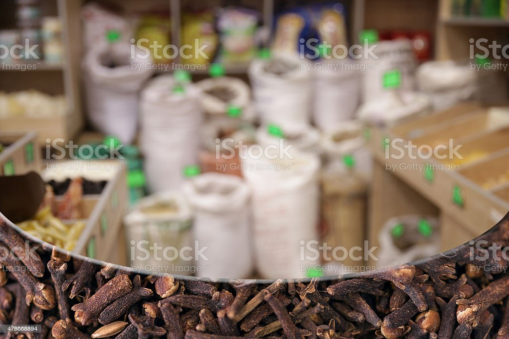 Clove spices.Grocery background stock photo