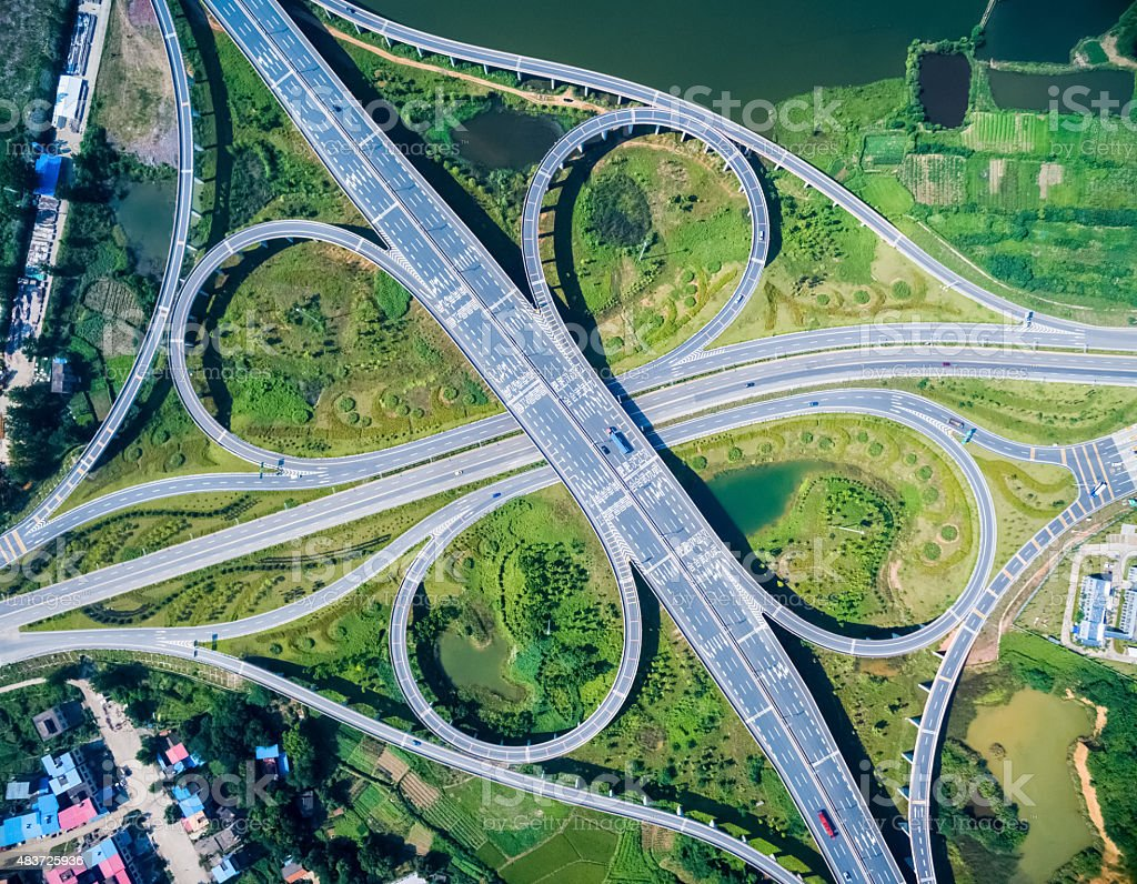 cloverleaf interchange highway stock photo