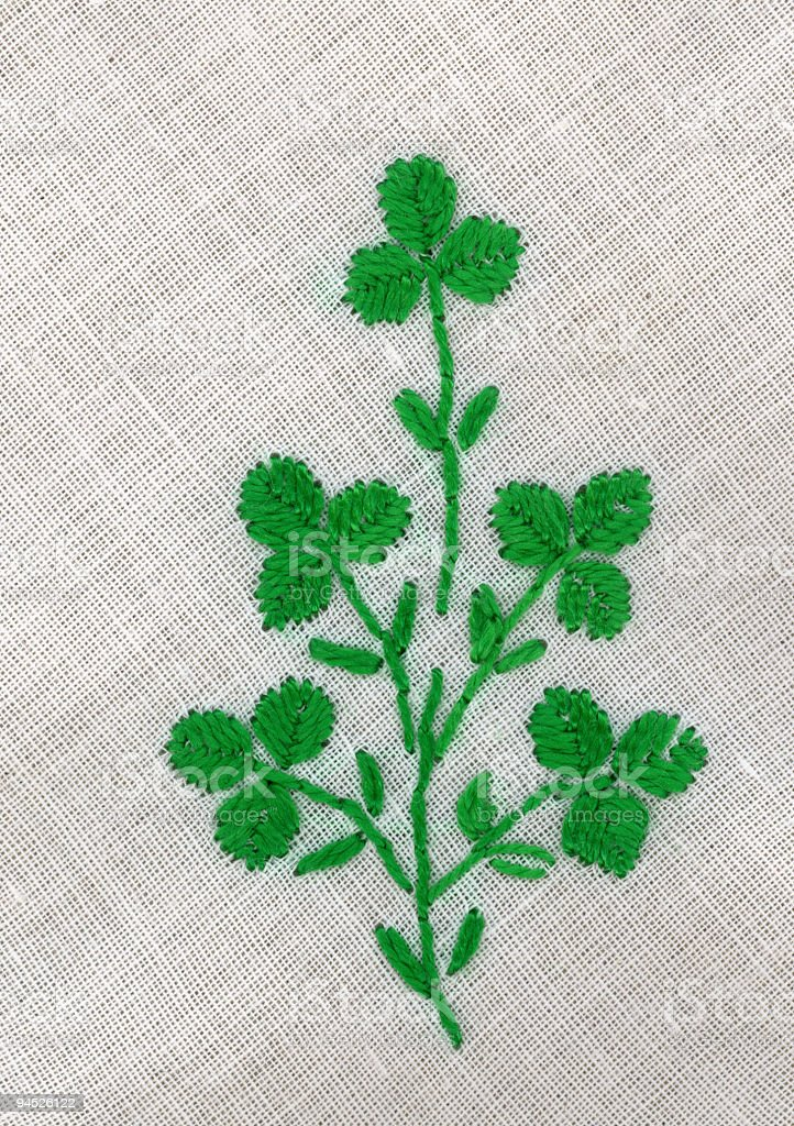 clovers embroidered on handkerchief royalty-free stock photo