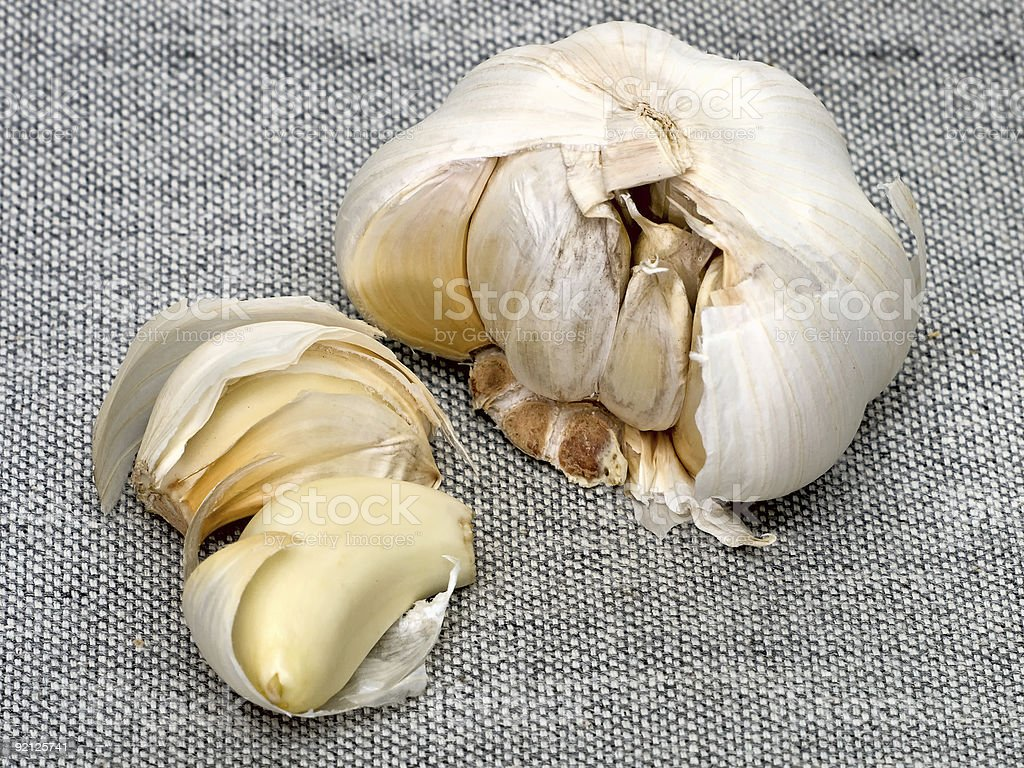 Cloves And Bulb Of Garlic royalty-free stock photo