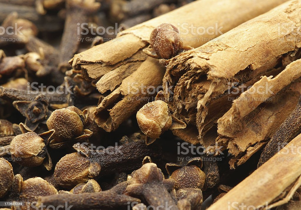 Cloves and  cinnamon. royalty-free stock photo