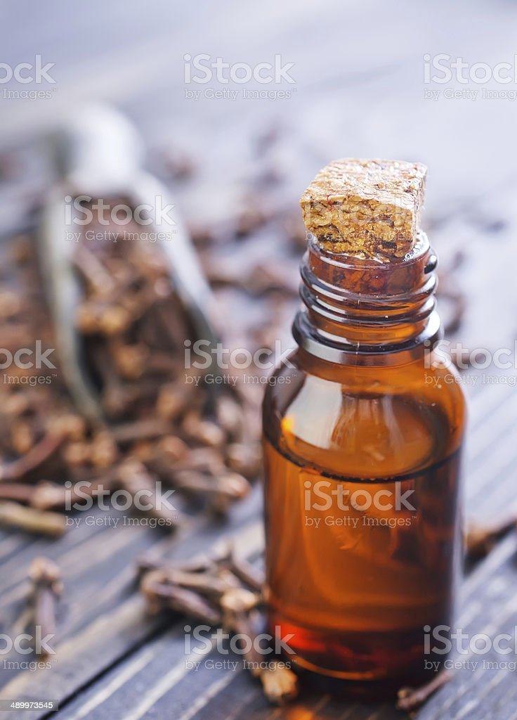 cloves and oil stock photo