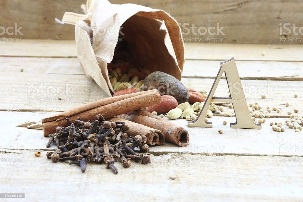Cloves,cinnamon and other spices royalty-free stock photo