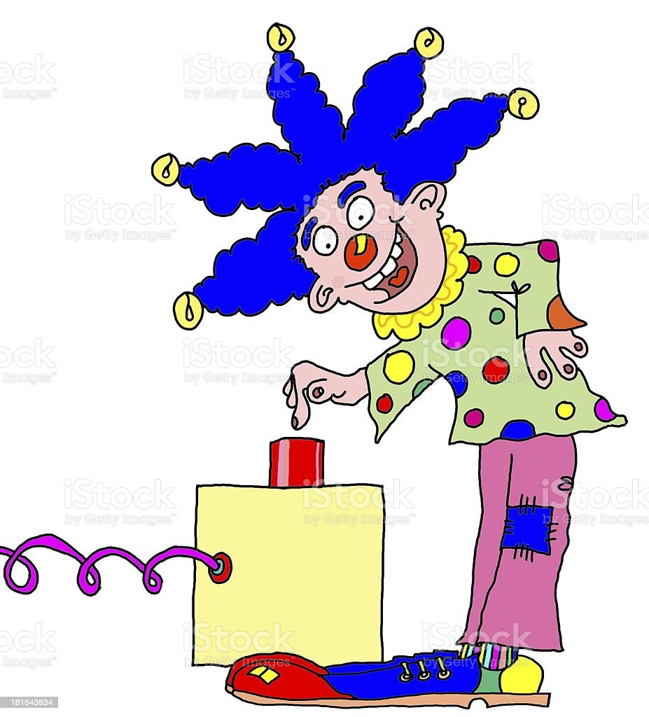 Clown about to push a large red button.  Illustration. royalty-free stock photo