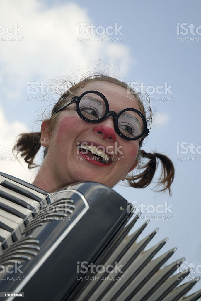 Clown and Accordion stock photo