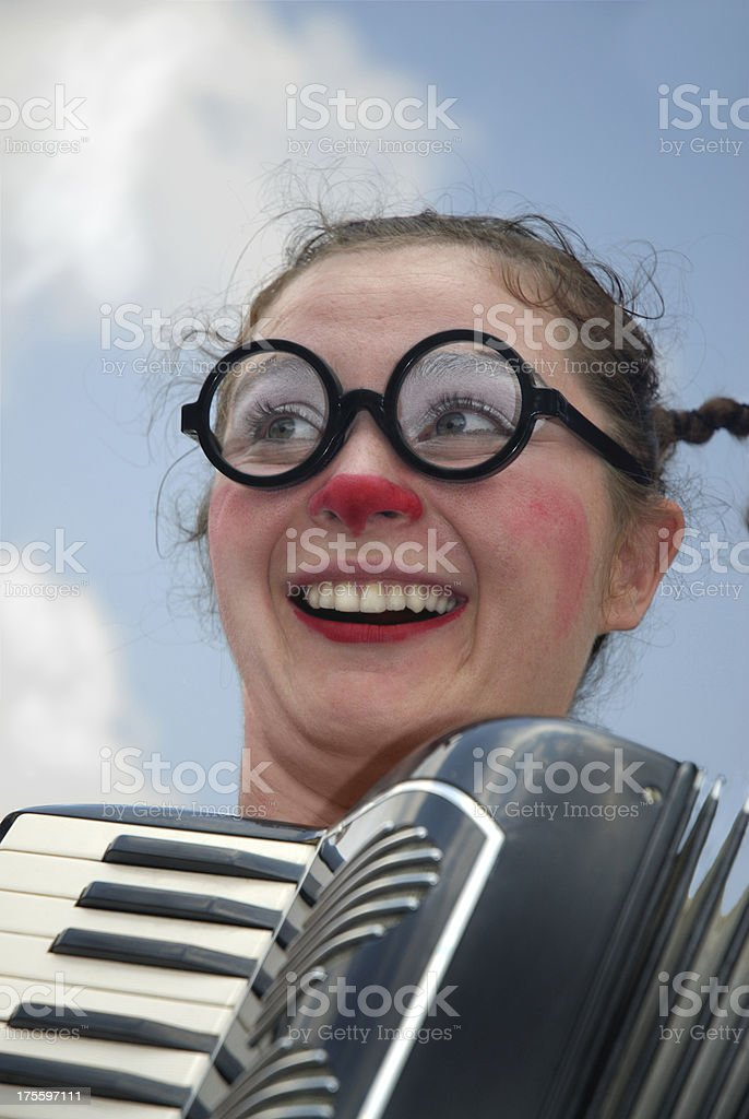Clown and Accordion royalty-free stock photo