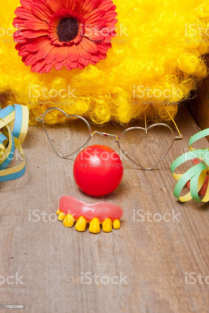 Clown costume with funny rotten teeth royalty-free stock photo