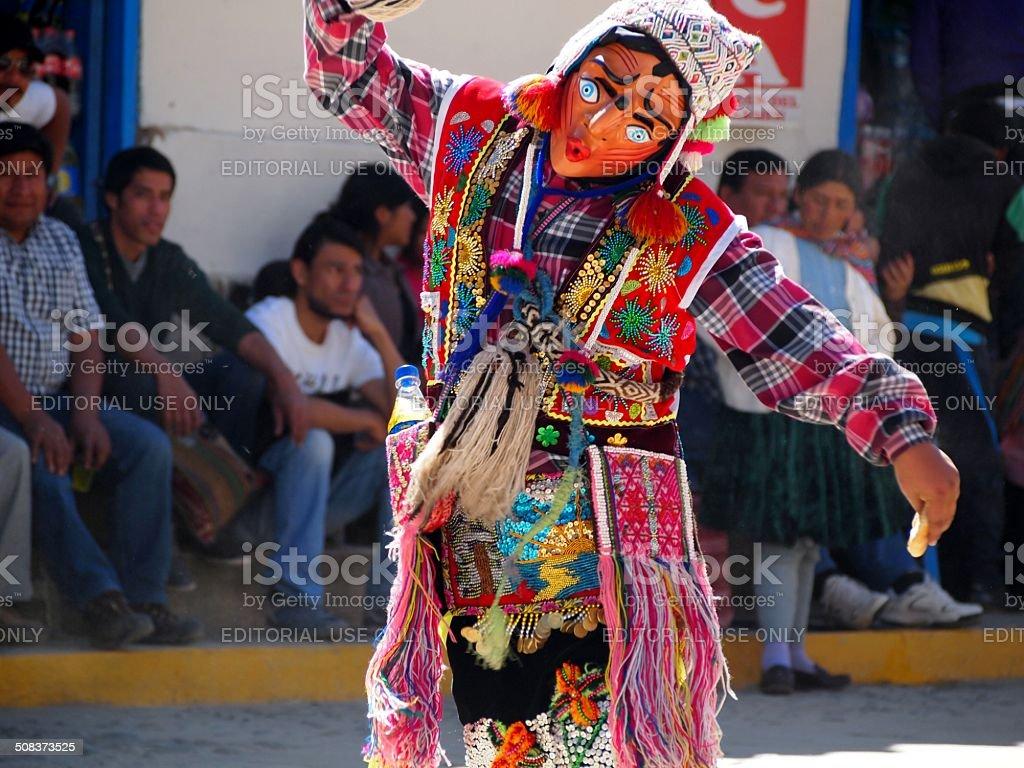 Clown dances for the crowds, Paucartambo,Peru royalty-free stock photo