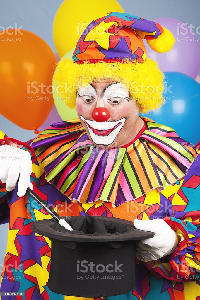 Clown Does Magic Trick royalty-free stock photo