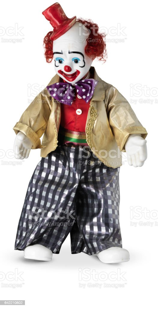 Clown doll with red top hat stock photo