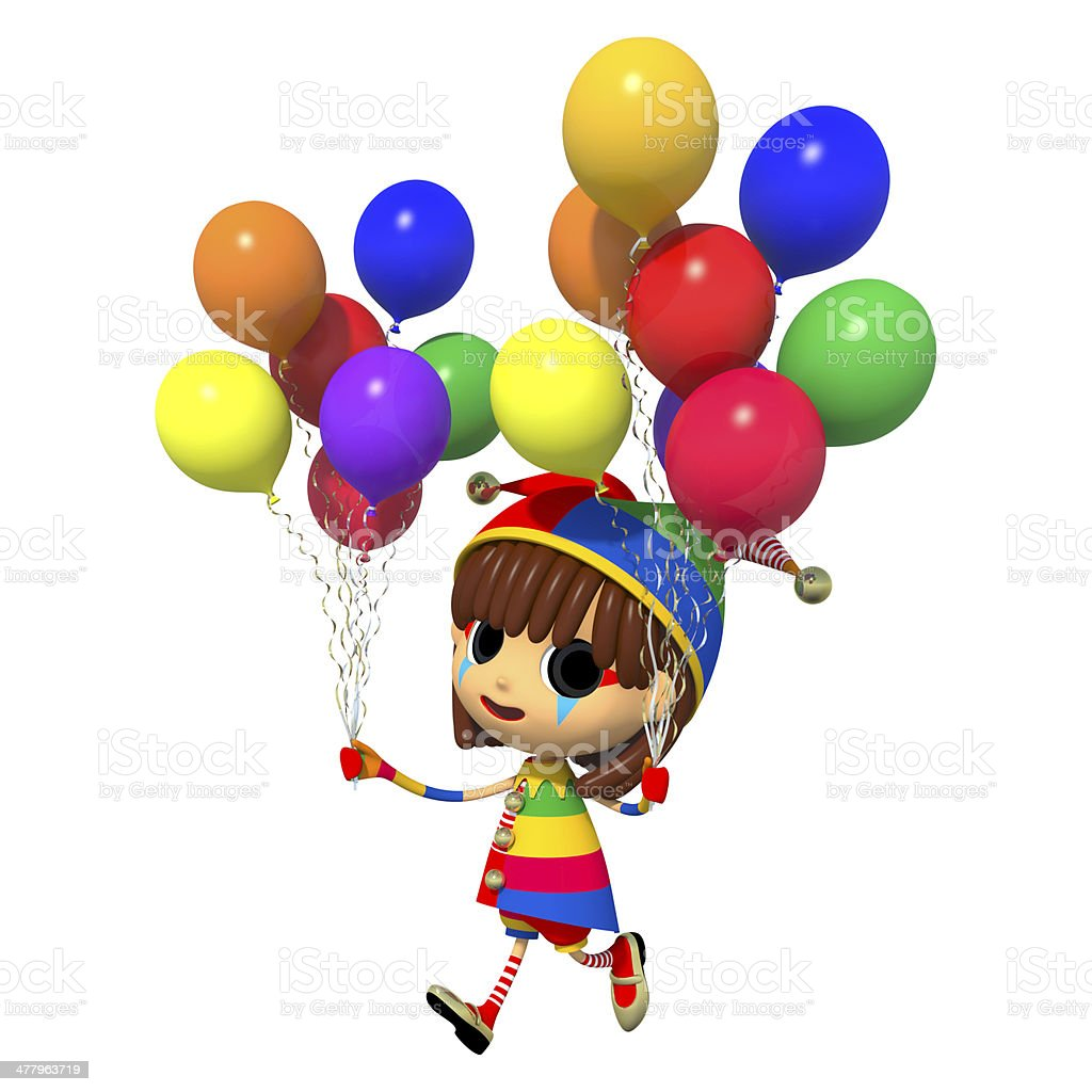 Clown has a lot of balloons royalty-free stock photo